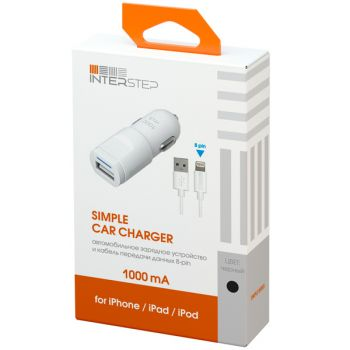 Автомобильное зарядное устройство для Apple InterStep 1 USB 1A + кабель Lightning, Black